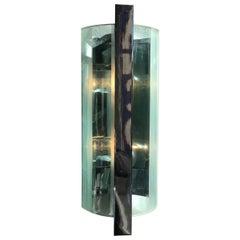 Cristal Art Sconces Glass Metal Crome, 1960