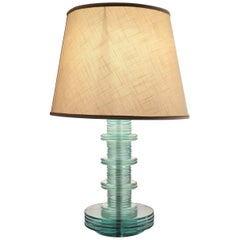Cristal Art Table Lamp Glass Iron Fabric Lampshade, 1960, Italy