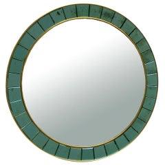 Cristal Art Wall Round Mirror, Italy, 1950s