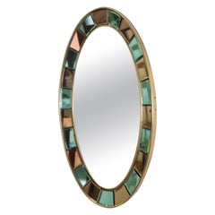 Cristal Arte Bicolour Model 2727 Oval Wall Mirror, Italian 1960s Artglass