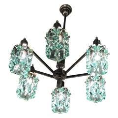Cristal Arte Chandelier glass Metal Crome 1950 Italy