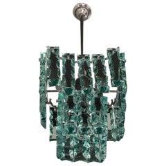 Cristal Arte Chandelier Glass Metal Crome, 1960, Italy
