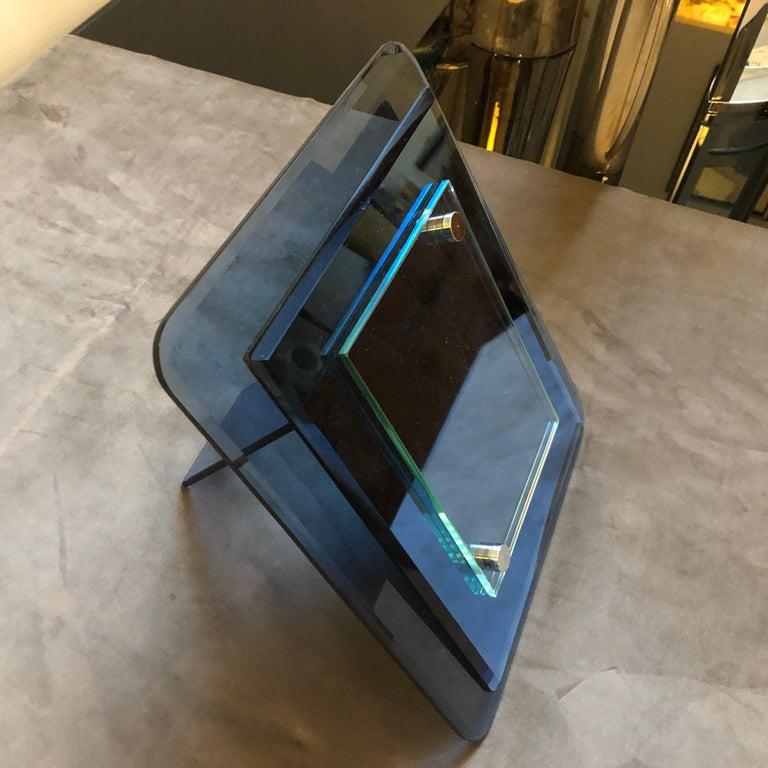 Cristal Arte Mid-Century Modern Blue Glass Italian Photo Frame, circa 1970 For Sale 1