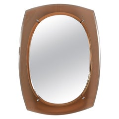 Cristal Arte Oval Mirror with Pale Coral Glass Frame
