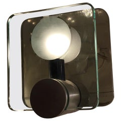 Cristal Arte Sconces Glass Metal Crome, 1960, Italy