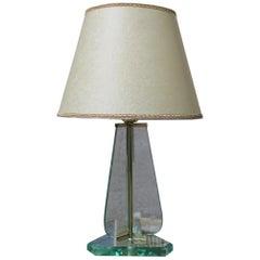 Cristal Arte Table Lamp Italian Midcentury Design Brass Part Parchment Dome 1950
