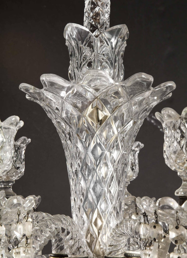 Cristalleries De Baccarat, a Large Pair of French Cut Crystal 18-Light Torcheres For Sale 11
