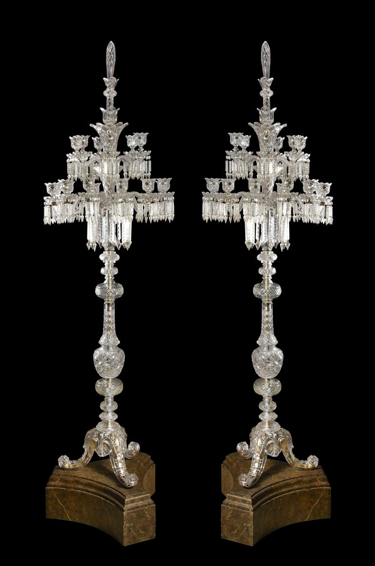 Cristalleries De Baccarat, a Large Pair of French Cut Crystal 18-Light Torcheres In Good Condition For Sale In New York, NY
