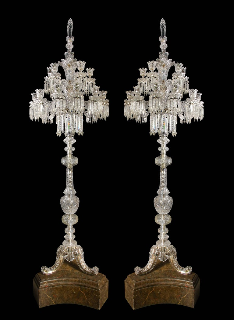 20th Century Cristalleries De Baccarat, a Large Pair of French Cut Crystal 18-Light Torcheres For Sale