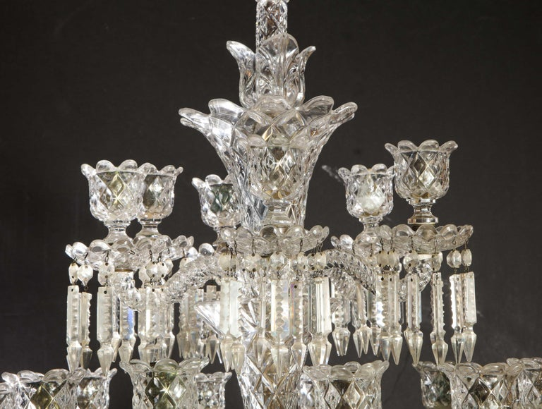 Cristalleries De Baccarat, a Large Pair of French Cut Crystal 18-Light Torcheres For Sale 2
