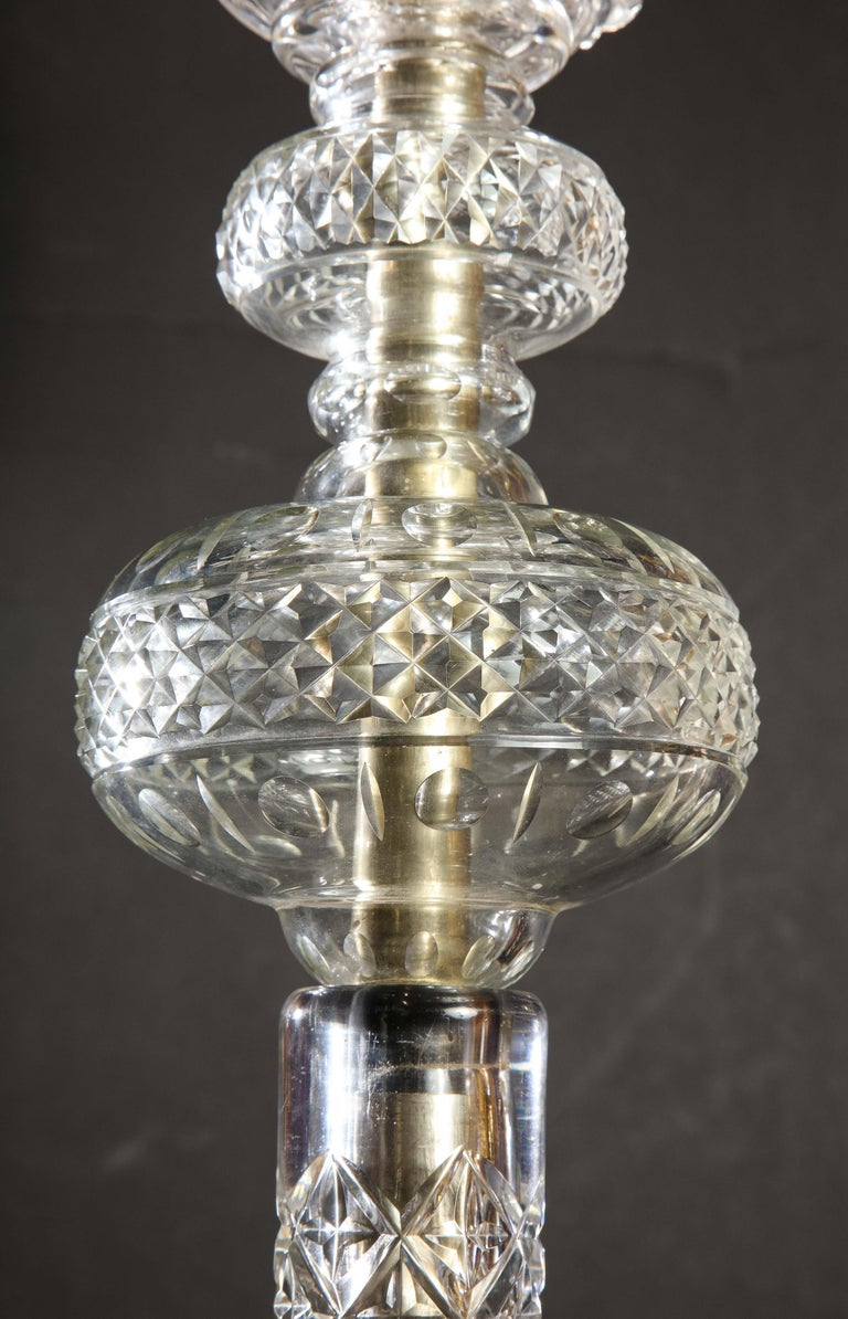 Cristalleries De Baccarat, a Large Pair of French Cut Crystal 18-Light Torcheres For Sale 4