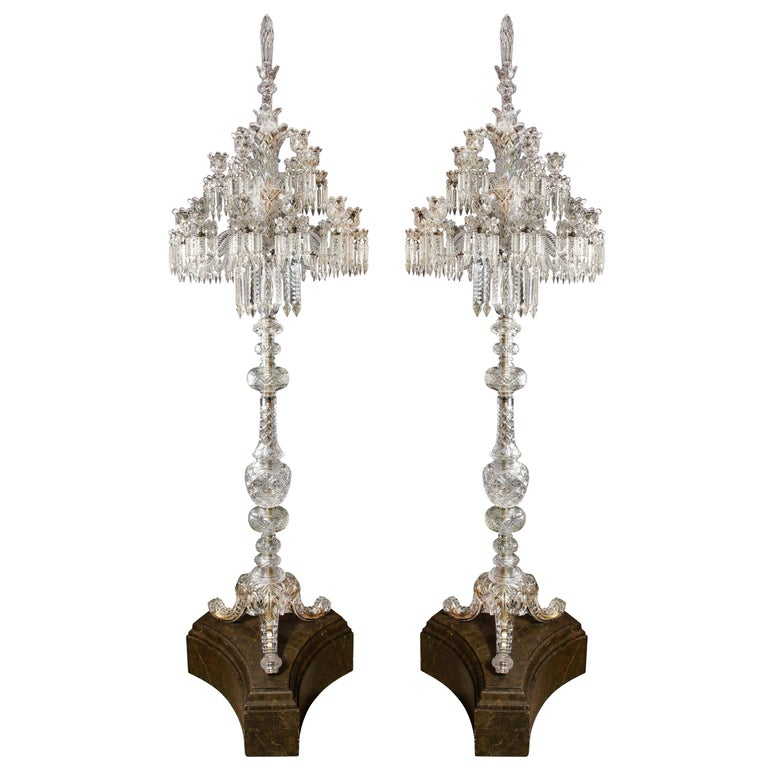 Cristalleries De Baccarat, a Large Pair of French Cut Crystal 18-Light Torcheres For Sale