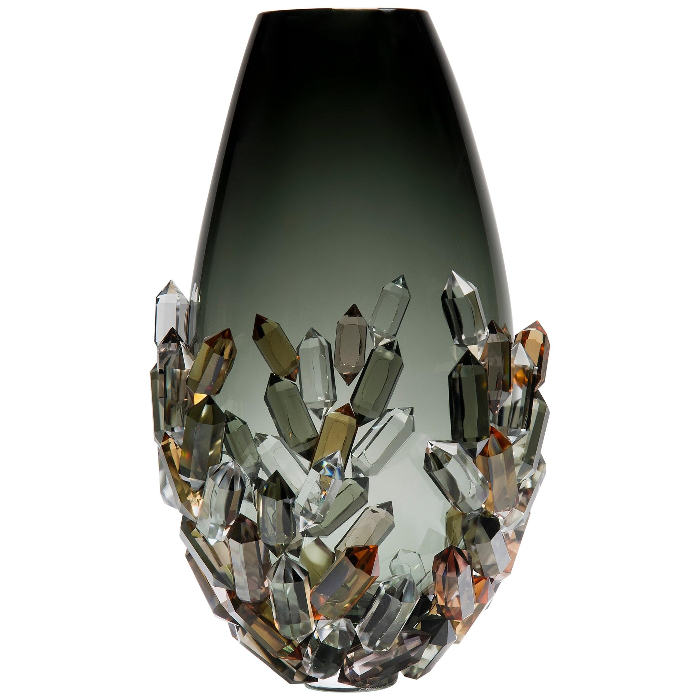 Cristallized Golden, a unique bronze, amber & grey glass vase by Hanne Enemark