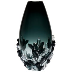 Cristallized Midnight, a Sculptural Blue and Grey Glass Vase by Hanne Enemark