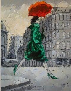 Coco in Paris III. Impressionism,, Cuban artist. Paris, France, Oil on Canvas