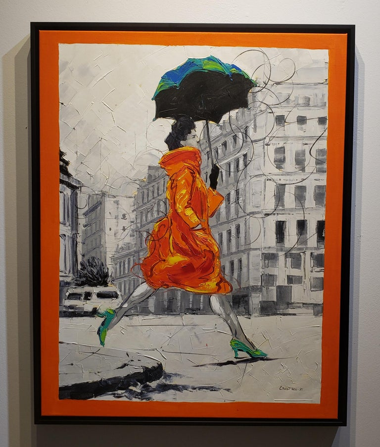 Coco in Paris VIII. Impressionism,, Cuban artist. Paris, France, Oil on Canvas - Painting by Cristian Mesa Velazquez
