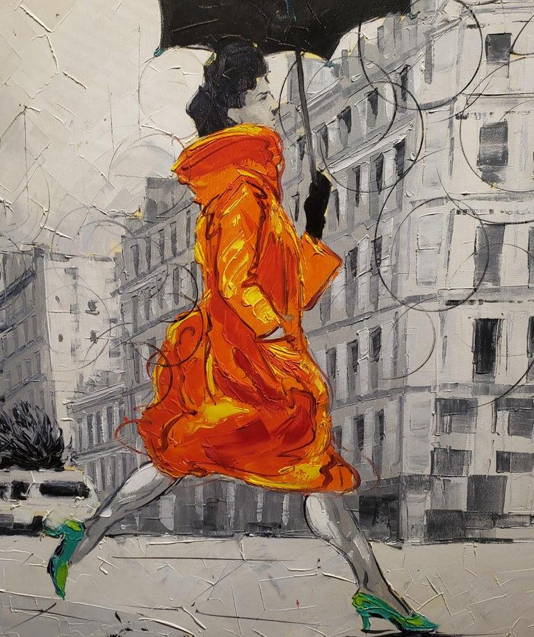 Coco in Paris VIII. Impressionism,, Cuban artist. Paris, France, Oil on Canvas - Gray Figurative Painting by Cristian Mesa Velazquez