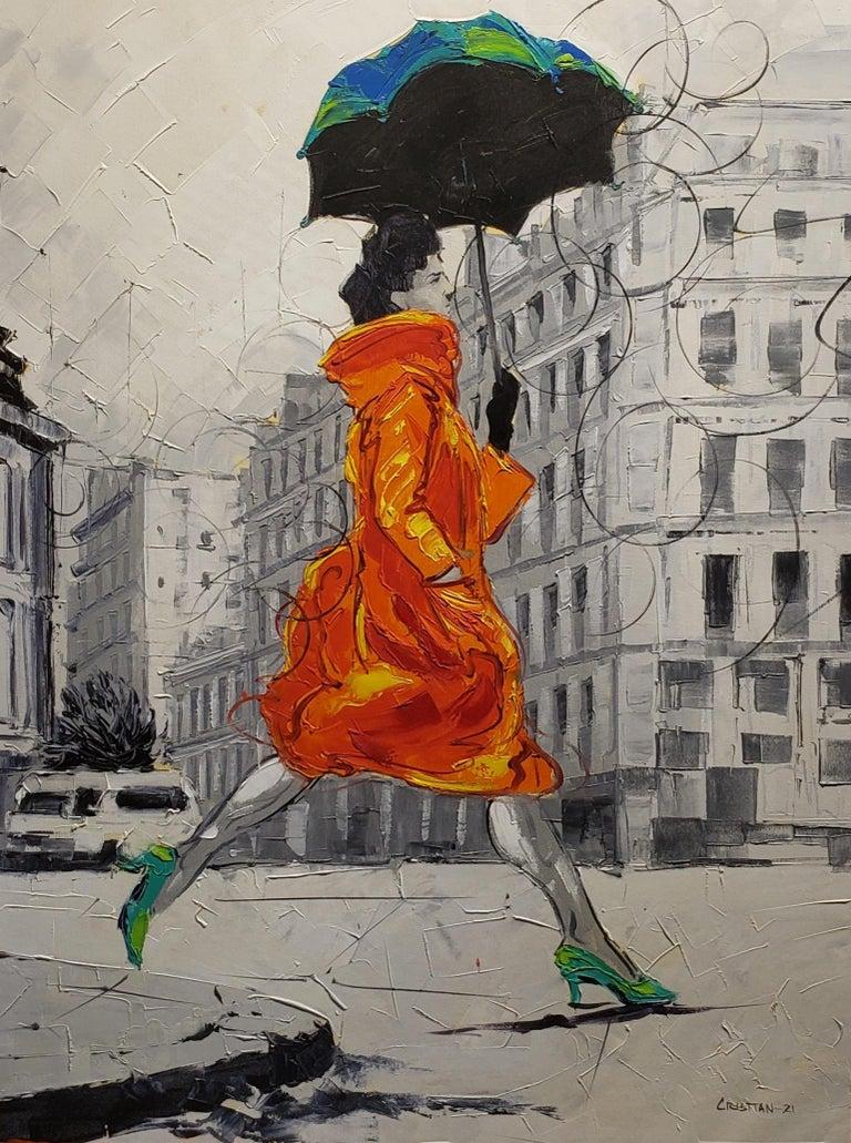 Cristian Mesa Velazquez Figurative Painting - Coco in Paris VIII. Impressionism,, Cuban artist. Paris, France, Oil on Canvas
