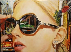 Spyglasses , oil painting, Realist Style of young Cuban artist in Barcelona