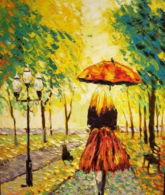 Walk through El Ritiro , Madrid, oil painting, Impressionism, Cuban Artist