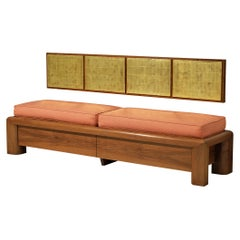 Cristiano Toraldo di Francia Unique Bench in Walnut with Gold Leaf Wall Panel