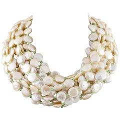 Cristina Ferrare Coin Pearl Multi-Strand Bib Necklace 18 Karat Gold Clasp