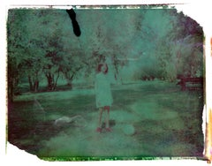 Boy with ball in the park - Contemporary, Polaroid, Childhood, abstract