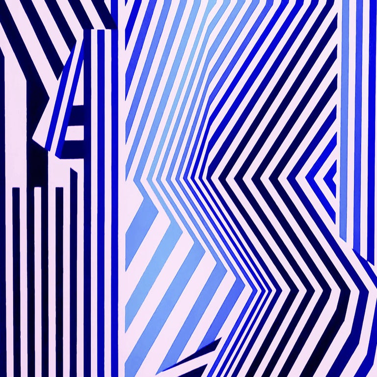 'Blue Sysmo' is a medium size abstract geometric acrylic on canvas painting created by Argentinian artist Cristina Ghetti in 2020. Featuring a blues and black palette on white. The square format depicts a series of angular parallel lines, leading