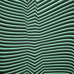 'Folding U2R' Green and Black Abstract Kinetic Painting