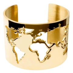 Cristina Ramella Yellow Gold Plated World Map Cuff Bracelet