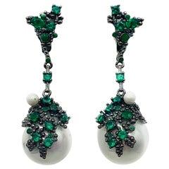 Cristina Sabatini Green & Black Natural Gem & Pearl Drop Earrings