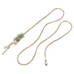 Cristina Sabatini Yellow Gold Plated Single Strand Peridot Pendant Necklace