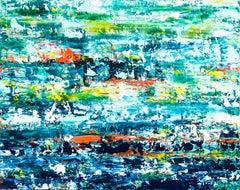 Costa Daurada - Abstract seascape, Painting, Acrylic on Canvas