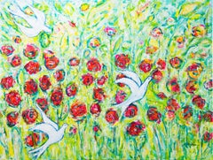 Dancing birds, Painting, Acrylic on Canvas