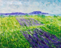 Lavender fields, Painting, Acrylic on Canvas