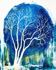 Winter night with tree, Painting, Acrylic on Canvas