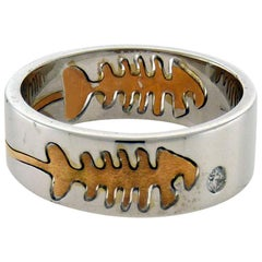 Crivelli 18 Karat Gold Diamond Fish-Bone Ring