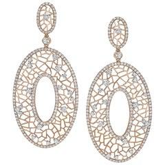 Crivelli 18 Karat Rose Gold Oval Pendant Drop Earrings with 4.91 Carat Diamonds