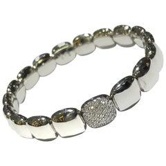 Crivelli 18 Karat White Gold Stretch Bracelet with Pave Square