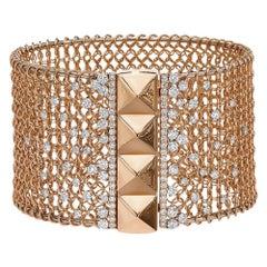 "Crivelli 18KT Gold ""Grillage"" Open Net Cuff Bracelet with 3.87 Carat Diamonds"