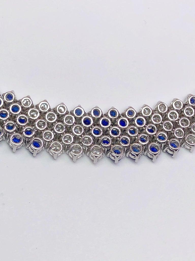 Contemporary Crivelli 18KT White Gold, 27.21Ct. Blue Sapphire & 13.61 Carat Diamond Necklace For Sale