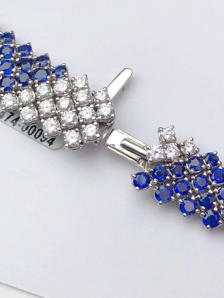 Round Cut Crivelli 18KT White Gold, 27.21Ct. Blue Sapphire & 13.61 Carat Diamond Necklace For Sale