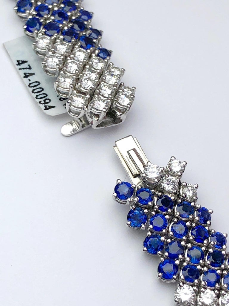 Crivelli 18KT White Gold, 27.21Ct. Blue Sapphire & 13.61 Carat Diamond Necklace In New Condition For Sale In New York, NY