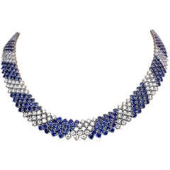 Crivelli 18KT White Gold, 27.21Ct. Blue Sapphire & 13.61 Carat Diamond Necklace