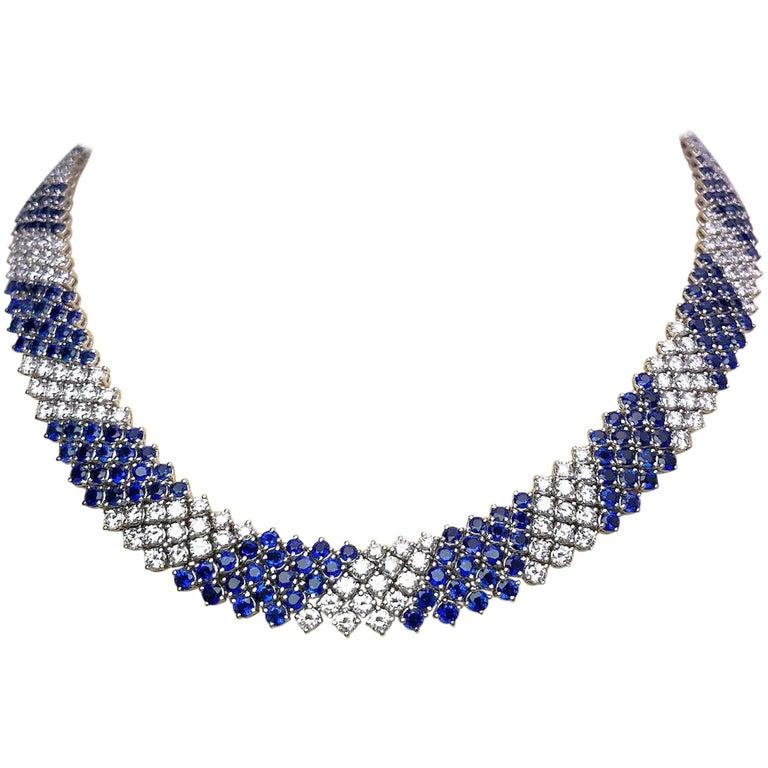 Crivelli 18KT White Gold, 27.21Ct. Blue Sapphire & 13.61 Carat Diamond Necklace For Sale