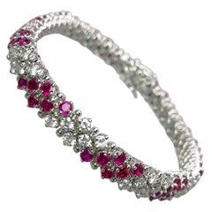 Crivelli 18 Karat White Gold, 4.96 Carat Ruby and 3.08 Carat Diamond Bracelet