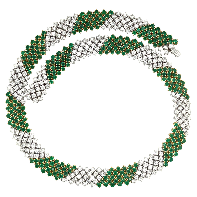 Crivelli 18kt Yellow/ White Gold Diamond 15.20ct & Emerald 17.36ct Necklace