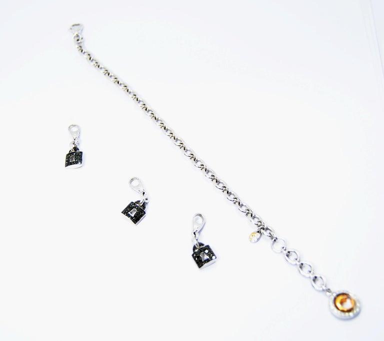 Women's or Men's Crivelli Charm Bracelet in 18 Karat White Gold and White and Black Diamonds For Sale