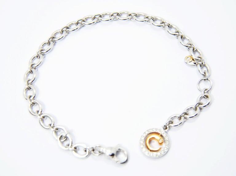 Crivelli Charm Bracelet in 18 Karat White Gold and White and Black Diamonds For Sale 1