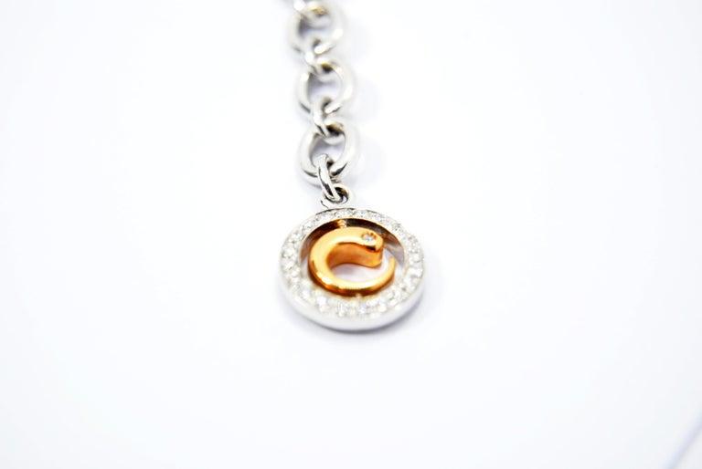 Crivelli Charm Bracelet in 18 Karat White Gold and White and Black Diamonds For Sale 2